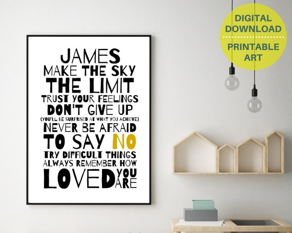 PRINTABLE Don't Give Up personalized poster, custom teen wall art, monochrome teen room decor, teen inspirational poster, positive quote art