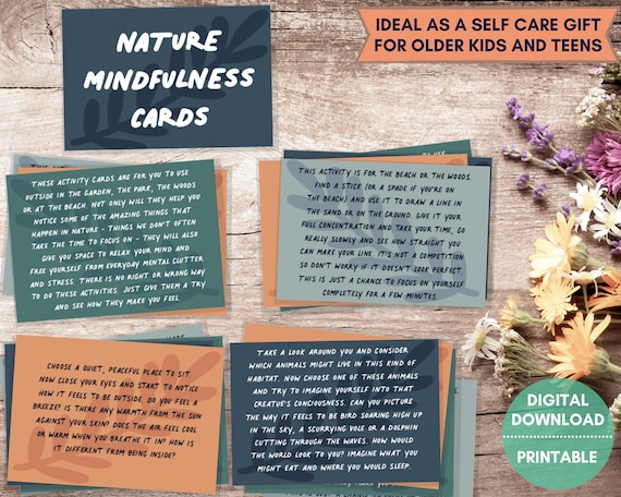 Self care cards, PRINTABLE, outdoor mindfulness cards for teens, anxiety aid for teen, meditation cards, natural stress relief, wellbeing
