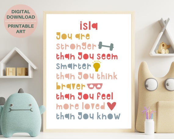 Kids affirmation art, girls personalized positive affirmation print, childs inspirational room decor, custom gift for girl, DIGITAL PRINT