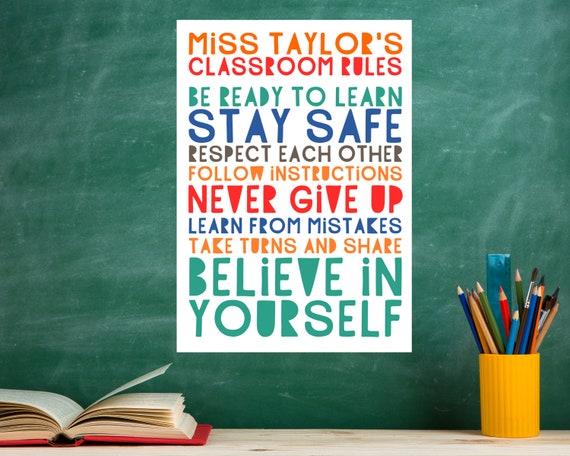 PRINTABLE Classroom Rules personalized poster, custom gift for teacher, classroom decor, classroom door sign, teacher sign, grade school art