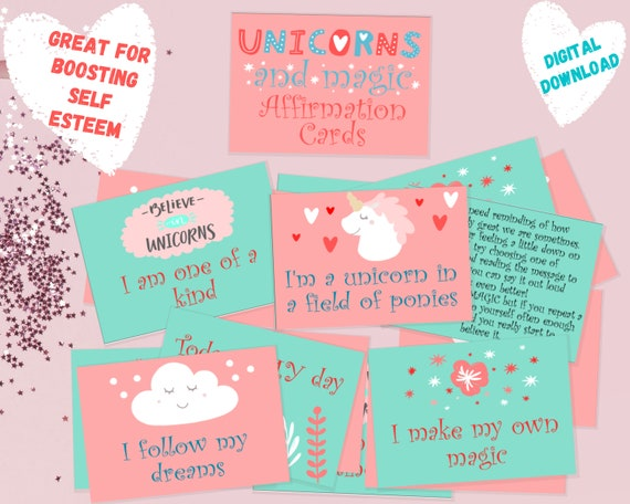 Affirmation cards, unicorn card set for kids, positive affirmation cards, gift for kid, printable well-being activity, INSTANT DOWNLOAD