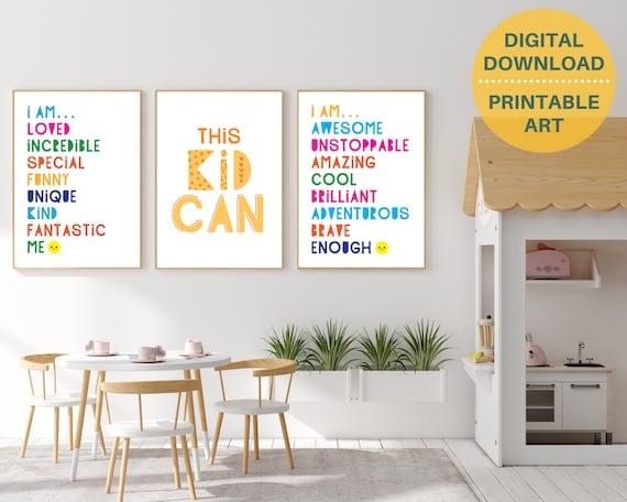3 classroom motivational quote digital poster prints, kids positive wall art, classroom decor, classroom prints bundle, INSTANT DOWNLOAD
