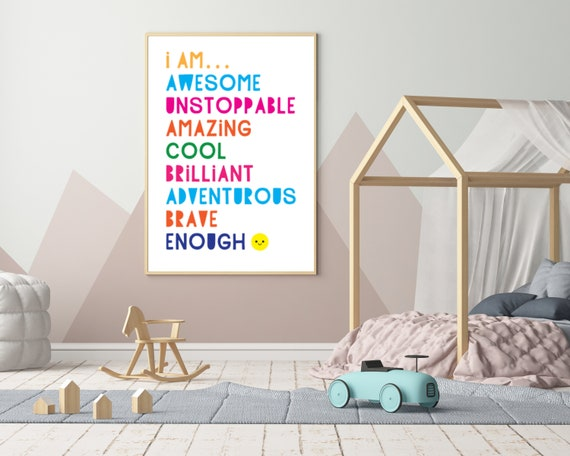 I AM AWESOME printable kids wall art, girls room decor, girls rainbow word art poster, motivational poster, positive quote, Instant download