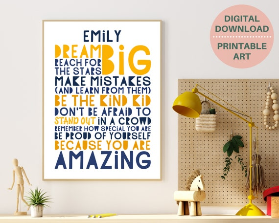 Inspirational quote personalized poster, gift for teen girl, teen room decor, girls motivational poster, teens positive quote, PRINTABLE