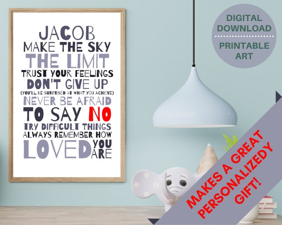personalized wall art, PRINTABLE Don't Give Up custom poster, teen boy wall decor, boy room decor, boys inspirational poster, positive quote