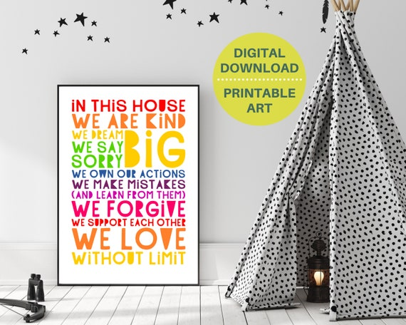 PRINTABLE family rules poster, gift for family, family room wall decor, rainbow word art, positive family quote, Instant Download