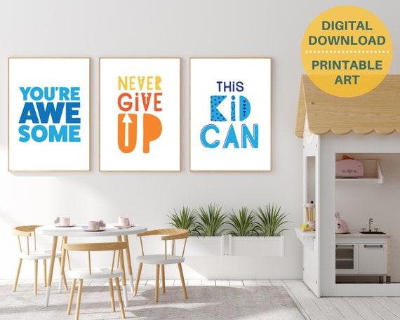 3 encouragement quote digital posters, kids positive wall art, classroom decor, grade school prints, inspirational posters, INSTANT DOWNLOAD