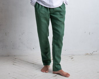 Linen Pants for Men, Trousers with Drawstring and Elastic Waist, Button Fly Pants with Pockets, Linen Yoga Pants, Summer Beach Pants