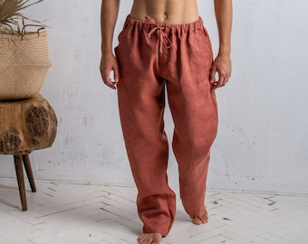 Linen Pants for Men, Baggy Pants, Trousers with Drawstring and Elastic Waist, Button Fly Pants with Pockets, Wide Pants Men, Gift for Him