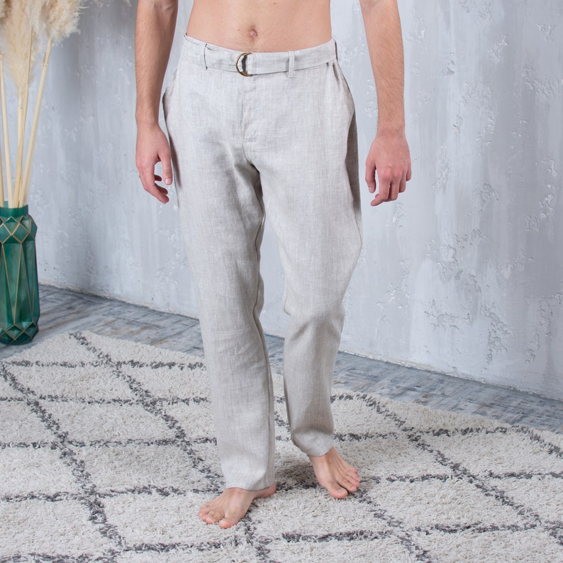 Trousers with Belt and Elastic Back Zip Fly Pants with Pockets and Inside Drawstring Linen Pants for Men with Belt Back Welt Pockets