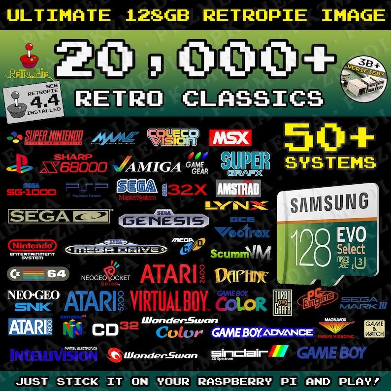Ultimate 128GB Retropie microSD - 20,000+ Games 50+ Systems Preloaded Pi  3B/3B+