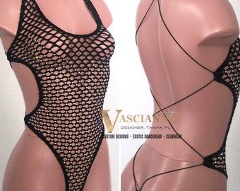 Bandit Black Net Chap Set Exotic Dancewear stripper outfits