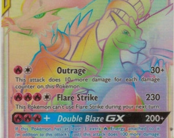 38162b58 Reshiram & Charizard GX - *PROXY* - Hand Made - Pokemon Card