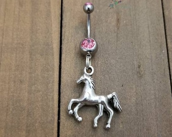 NEW 3D MARE HORSE w NURSING COLT PONY EQUESTRIAN ANIMALS 14g CLEAR CZ BELLY RING