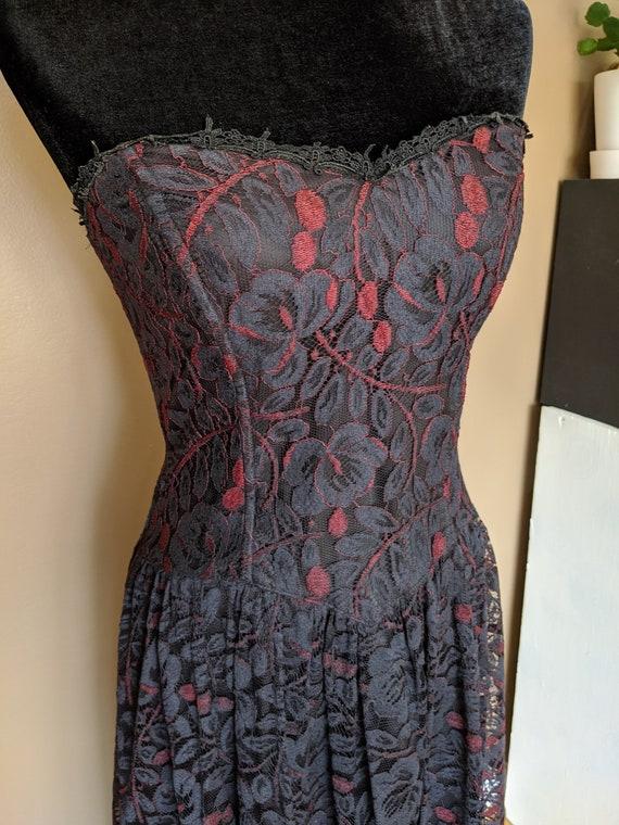 Vintage Jessica McClintock Gothic lace dress/Corse