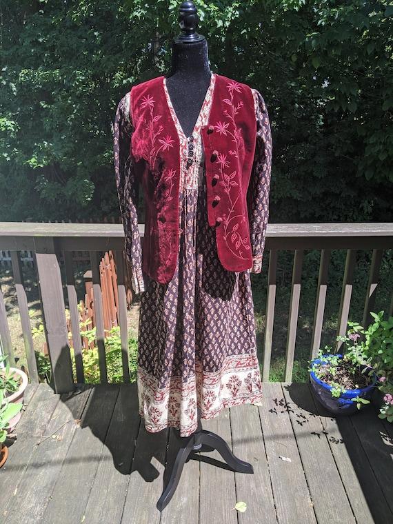 Indian cotton block printed dress/Sz Large/Block p