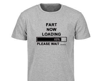 51af319e Men's Fart Now Loading Please Wait T-Shirt Black/Blue/Grey Tees Round  Collar Top