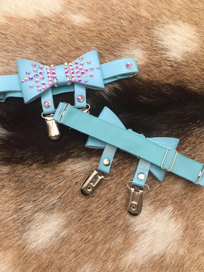 Pair Blue /& Crystal Bedazzled Bow Leg Thigh-High Stocking Clip Garter Belt Adult BDSM DDLG Girly Fetish Bondage Bowtie Suspenders lingerie