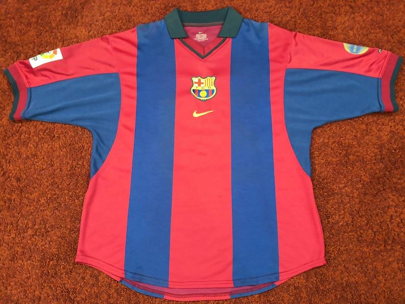 huge selection of f3a80 25a46 Vintage Barcelona Home Jersey Maglia Trikot Shirt Season 2000/01