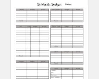photograph regarding Bi Weekly Budget Worksheet Printable named Biweekly funds Etsy