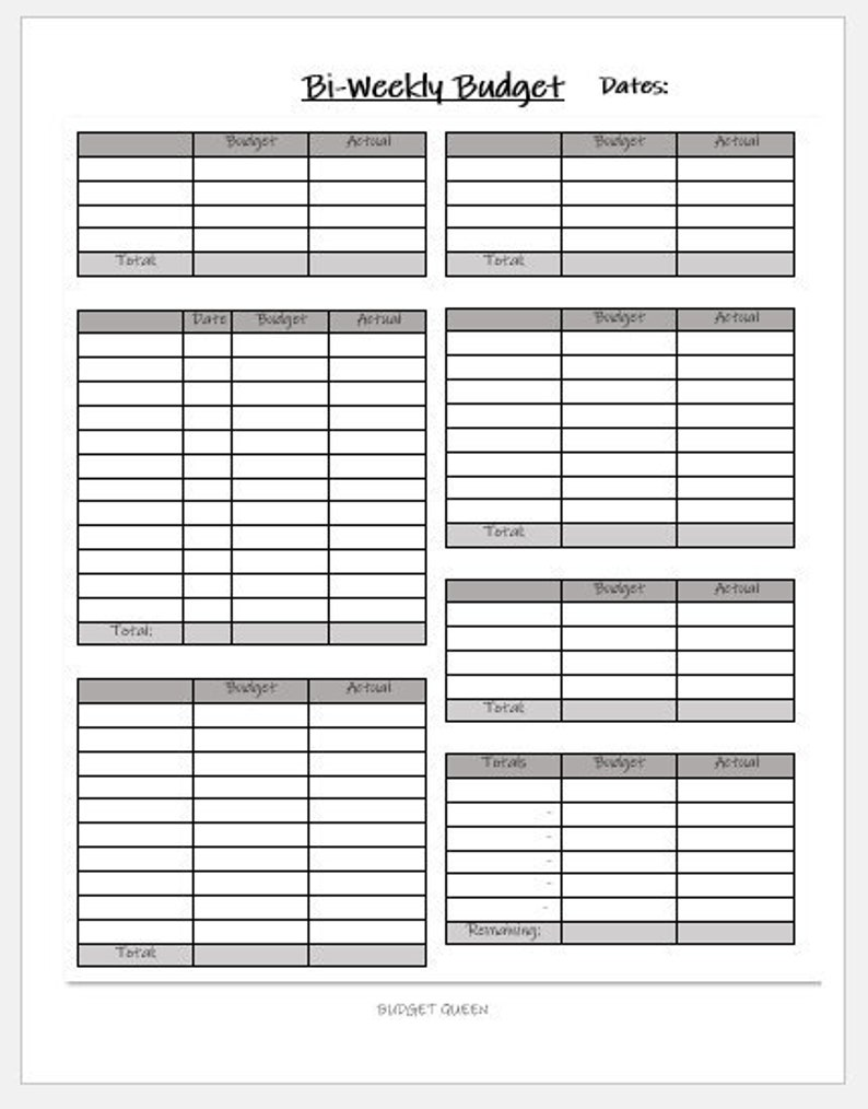 graphic relating to Bi Weekly Budget Worksheet Printable named BLANK Bi-Weekly Spending plan Template 2 PRINTABLE Finance Spending plan Sheets
