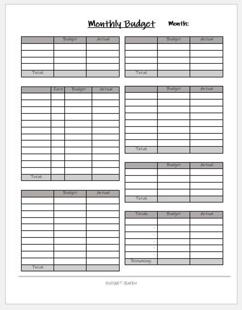 BLANK Monthly Budget Template 2 PRINTABLE Finance Budget ...