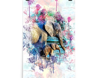 Elephant Water Color Art Poster