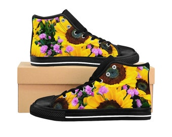 Handpainted sunflowers on mint green Converse sneakers