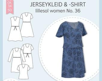 Paper cut pattern jersey dress & shirt lillesol woman No. 36
