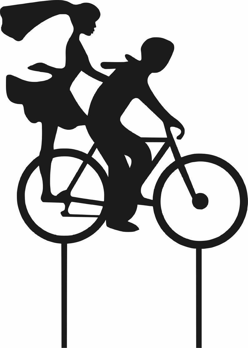 let/'s go together dxf, cdr, svg, jpg, ai couple on a bike DXF and CDR File for CNC Laser Plasma lovers for cake go together
