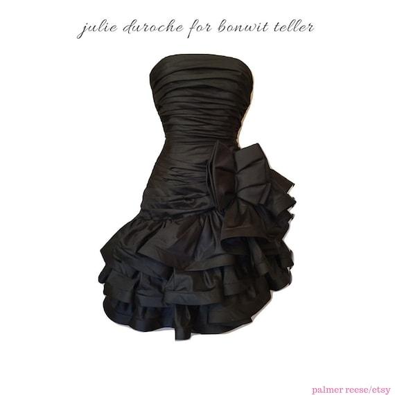 Julie Duroche 1980's Black Ruched Short Asymmetric