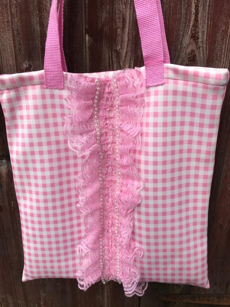 Vichy lace pink gingham check tote shopping bag Lolita rococo kawaii cosplay ballerina ruffles anime Victorian baroque festival bohemian