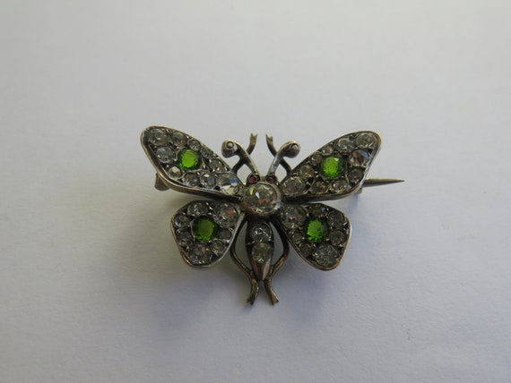 EDWARDIAN SILVER BUTTERFLY paste brooch