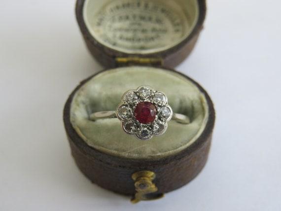 EDWARDIAN RUBY DIAMOND daisy ring