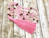Rose Quartz, Pink Aura Quartz, Rhodonite 108 Handknotted Meditation Mala with Pink Cotton Tassel, Japa Mala, Spiritual Prayer Beads