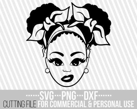Girl With Afro Puffs Svg Hair Bow Melanin Black Woman Svg Etsy