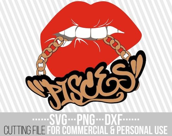 Pisces Svg Gold Chain Svg Biting Lips Svg Zodiac Sign Svg Etsy