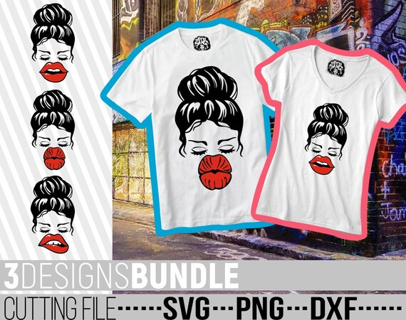 Vector Botox Lips svg File for Cricut Cut Files Sublimation Red Lips 3x Messy Bun Designs Bundle svg Clipart Silhouette Hairstyle