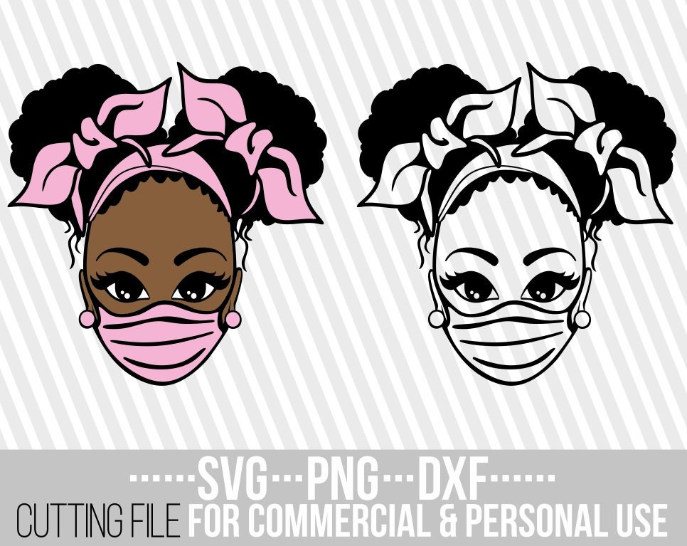 Black Girl Magic Silhouette Black Woman In Mask Melanin Poppin Mask Required sign svg Cricut Vector Cuttable Instant download