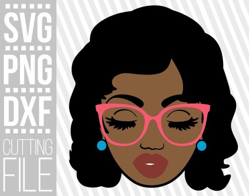 Silhouette Black Girl Magic Melanin girl Instant download Afro woman Long Hair svg File for Cricut Cute Black Girl with glasses svg