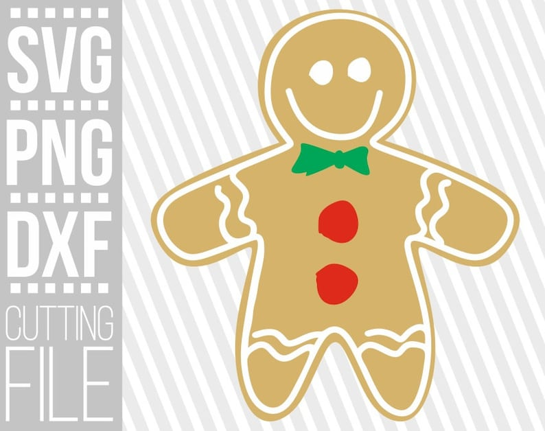 Silhouette,Instant download File for Cricut Cookie gingerbread face svg cuttable files Merry Christmas Tie svg Gingerbread Man svg