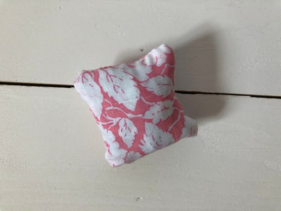 tiny floral pillow small pillow pin holder Pink /& white floral print mini pillows pin cushions handmade tiny pillow needle holder