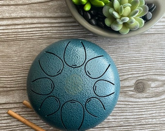 Tongue Drum 13cm Hand Crafted and high quality drum. Hand-Pan Percussion instrument Tank Drum.  Meditation drum with 2 Mallets and Bag