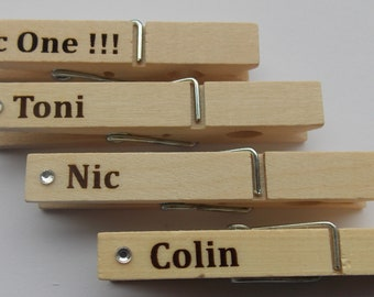 Personalised Names on Wooden Pegs Great for Kids School Lots of Uses Lasered
