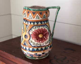 Italian Pottery Frame~Hand painted Majolica~Black Frame Photo Frame Castelli Italy~Vintage Ceramic Frame Floral Decoration~JewelsandMetals.