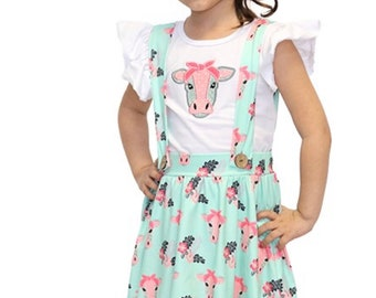dd2db1dad1 Cow print overall skirt