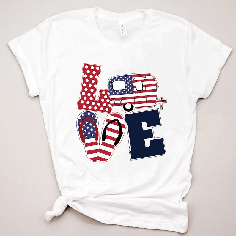 Patriotic t-shirt with love bus and flip flops to wear to patriotic parties and 4th of July celebrations. #patriotictshirt #americanflagtshirt