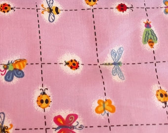 Colorful BUGS GALORE cotton quilt fabric x Blank Quilting Dragonfly on Purple