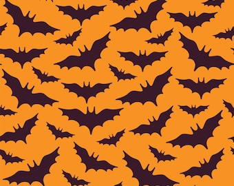 Halloween Fabric - Bats - Flying Bats on Orange