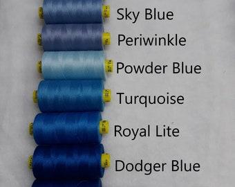 Thread - Blue - Shades of Blue - Tex 30 - Gutermann - All Purpose Thread - 1,093 Yards/1, 000 Meters